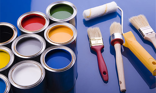 cans of paint, brushes, and roller